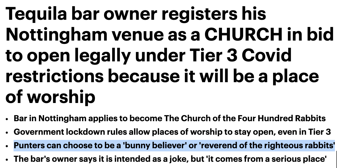Bar registers as church to stay open under tier 3 restrictions